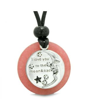 I Love You to the Moon and Back Magic Good Luck Medallion Amulet Pink Quartz Adjustable Necklace