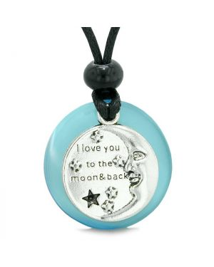 I Love You to the Moon and Back Magic Good Luck Medallion Amulet Blue Simulated Cats Eye Necklace