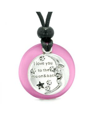 I Love You to the Moon and Back Good Luck Medallion Amulet Sweet Pink Simulated Cats Eye Necklace