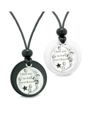 I Love You to the Moon and Back Couples Best Friends Medallion Amulets Agate White Quartz Necklaces