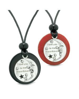 I Love You to the Moon and Back Couples Best Friends Medallion Amulets Agate Red Quartz Necklaces