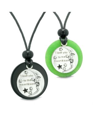 I Love You to the Moon and Back Couples Best Friends Medallion Amulets Agate Green Quartz Necklaces