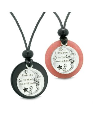 I Love You to the Moon and Back Couples Best Friends Medallion Amulets Agate Pink Quartz Necklaces