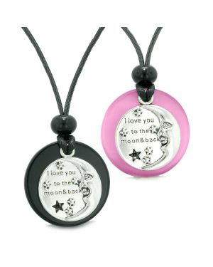 I Love You to the Moon and Back Couples Best Friends Amulets Agate Pink Simulated Cat Eye Necklaces