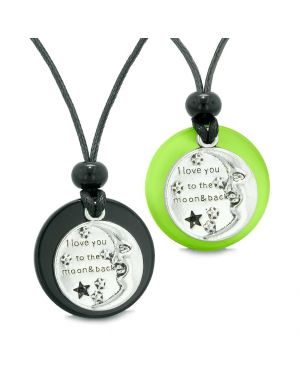 I Love You to the Moon and Back Couples Best Friend Amulet Agate Green Simulated Cats Eye Necklaces