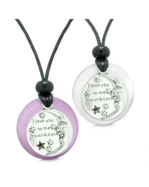 I Love You to the Moon and Back Couple Best Friend Amulets Purple White Simulated Cat Eye Necklaces