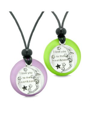 I Love You to the Moon and Back Couples Best Friend Amulets Green White Simulated Cat Eye Necklaces