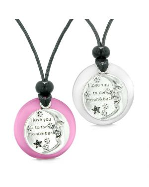 I Love You to the Moon and Back Couples Best Friends Amulets Pink White Simulated Cat Eye Necklaces