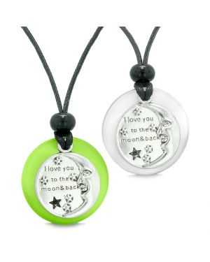 I Love You to the Moon and Back Couple Best Friends Amulets Green White Simulated Cat Eye Necklaces