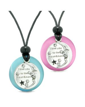 I Love You to the Moon and Back Couples Best Friends Amulets Blue Pink Simulated Cats Eye Necklaces