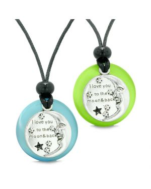 I Love You to the Moon and Back Couples Best Friends Amulets Blue Green Simulated Cat Eye Necklaces