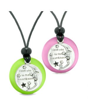 I Love You to the Moon and Back Couples Best Friends Amulets Pink Green Simulated Cat Eye Necklaces