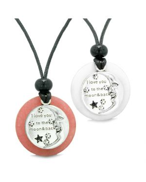 I Love You to the Moon and Back Couples Best Friends Medallion Amulets Pink White Quartz Necklaces