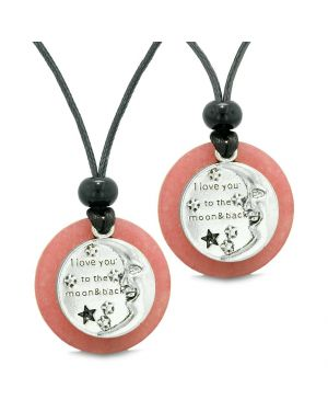 I Love You to the Moon and Back Couples Best Friends Medallions Amulets Pink Quartz Necklaces