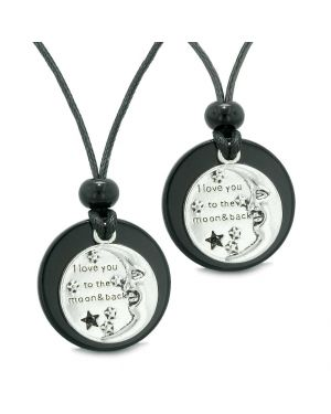 I Love You to the Moon and Back Couples Best Friends Medallions Amulets Black Agate Necklaces