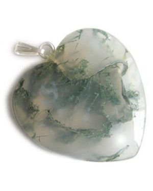 Good Luck Talisman Heart Pendant In Green Moss Agate