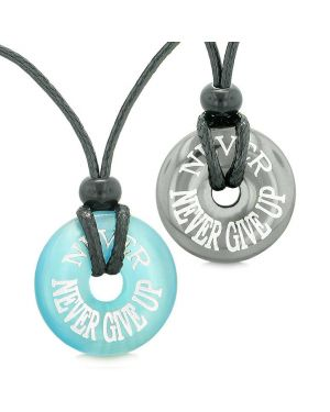 Amulets Never Never Give Up Love Couples Best Friends Donuts Hematite Simulated Cats Eye Necklaces