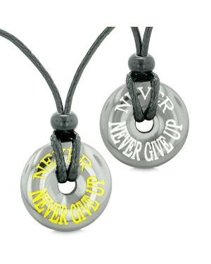 Amulets Never Never Give Up Love Couples Best Friends Lucky Coin Donuts Hematite Pendant Necklaces