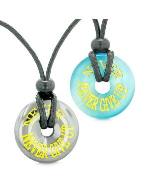 Amulets Never Never Give Up Best Friends Love Couples Donuts Hematite Simulated Cats Eye Necklaces