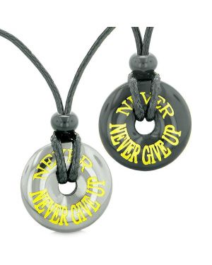 Amulets Never Never Give Up Best Friends or Love Couples Lucky Donuts Hematite Agate Necklaces
