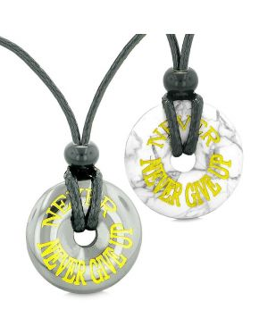 Amulets Never Never Give Up Best Friends or Love Couples Lucky Donuts Hematite Howlite Necklaces