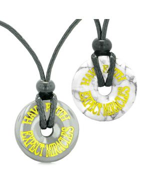 Amulets Have Faith Expect Miracles Love Couples Best Friend Donuts Hematite White Howlite Necklaces