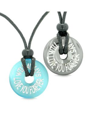 Amulets Will Always Love You Forever Couples Lucky Donuts Hematite Blue Simulated Cat Eye Necklaces