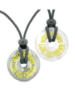 Amulets Will Always Love You Forever Couples Coin Donuts Hematite White Simulated Cat Eye Necklaces
