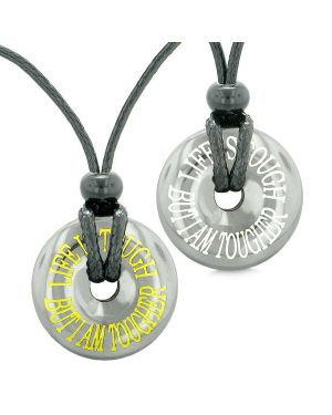 Amulets Life is Tough But I am Tougher Couples or Best Friends Donuts Lucky Coin Hematite Necklaces
