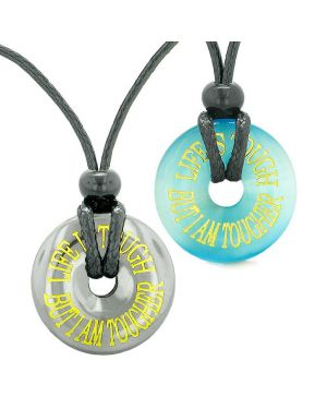 Amulets Life is Tough But I am Tougher Couples Donuts Hematite Blue Sumulated Cats Eye Necklaces