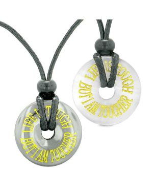 Amulets Life is Tough But I am Tougher Couples Donuts Hematite White Sumulated Cats Eye Necklaces