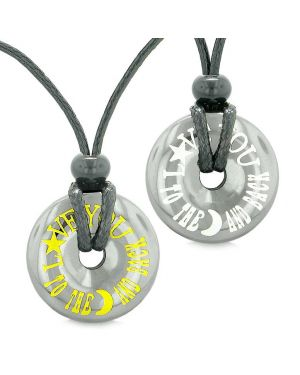 Amulets Love You to the Moon and Back Love Couple Best Friends Lucky Coin Donuts Hematite Necklaces