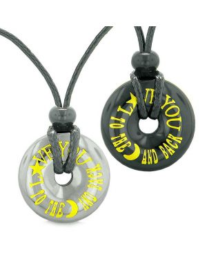 Amulets Love You to the Moon and Back Best Friends or Love Couples Donuts Hematite Agate Necklaces
