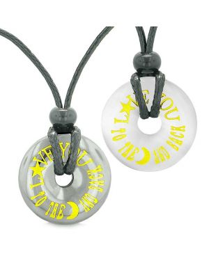 Amulets Love You to the Moon and Back Love Couple Coin Donuts Hematite Simulated Cats Eye Necklaces