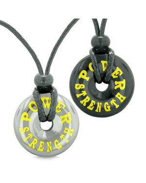 Amulets Power Strength Best Friends Love Couples Lucky Coin Donuts Hematite Black Agate Necklaces