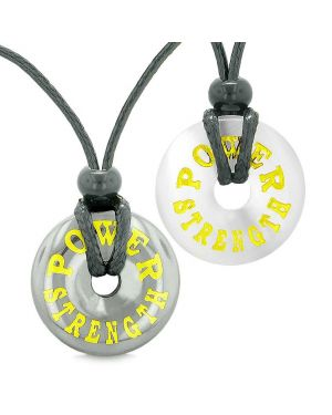 Amulets Power Strength Best Friends Love Couples Donuts Hematite White Simulated Cats Eye Necklaces