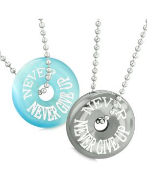Amulets Never Never Give Up Love Couples Best Friends Donuts Simulated Cats Eye Hematite Necklaces