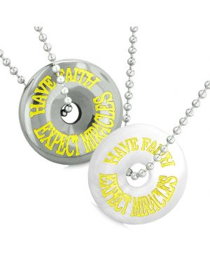 Amulets Have Faith Expect Miracles Love Couples Donuts White Simulated Cats Eye Hematite Necklaces