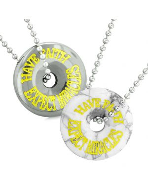 Amulets Have Faith Expect Miracles Love Couples Best Friend Donuts White Howlite Hematite Necklaces
