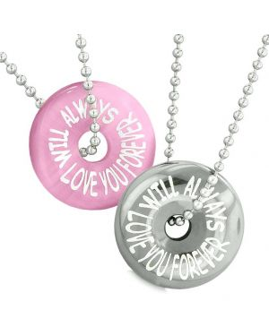 Amulets Will Always Love You Forever Couple Lucky Donuts Pink Simulated Cats Eye Hematite Necklaces