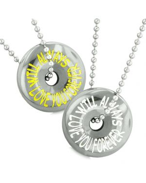 Amulets Will Always Love You Forever Couples or Best Friends Donuts Lucky Coin Hematite Necklaces