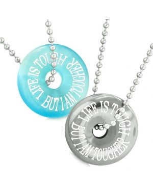 Amulets Life is Tough But I am Tougher Couples Donuts Blue Simulated Cats Eye Hematite Necklaces