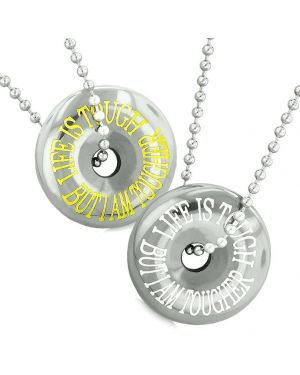 Amulets Life is Tough But I am Tougher Couples or Best Friends Lucky Coin Donuts Hematite Necklaces