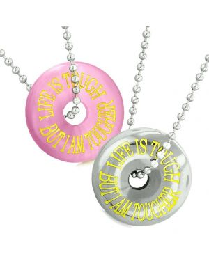 Amulets Life is Tough But I am Tougher Couples Donuts Pink Sumulated Cats Eye Hematite Necklaces