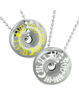 Amulets Love You to the Moon and Back Best Friends Love Couples Coin Donuts Hematite Necklaces