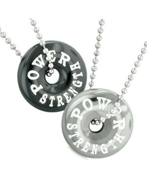 Amulets Power Strength Love Couples Best Friends Lucky Coin Donuts Black Agate Hematite Necklaces