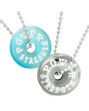 Amulets Power Strength Love Couples Best Friends Donuts Blue Simulated Cats Eye Hematite Necklaces