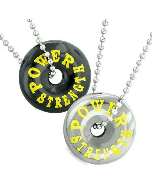 Amulets Power Strength Best Friends Love Couples Lucky Coin Donuts Black Agate Hematite Necklaces