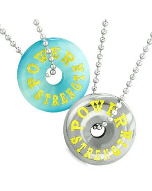 Amulets Power Strength Best Friends Love Couples Donuts Hematite Blue Simulated Cats Eye Necklaces