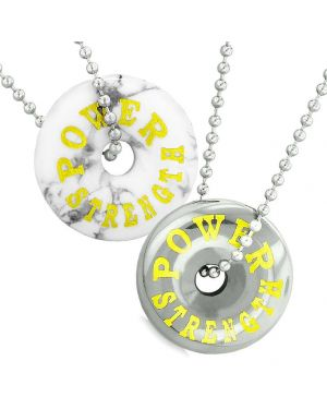 Amulets Power Strength Best Friends Love Couples Lucky Coin Donuts White Howlite Hematite Necklaces